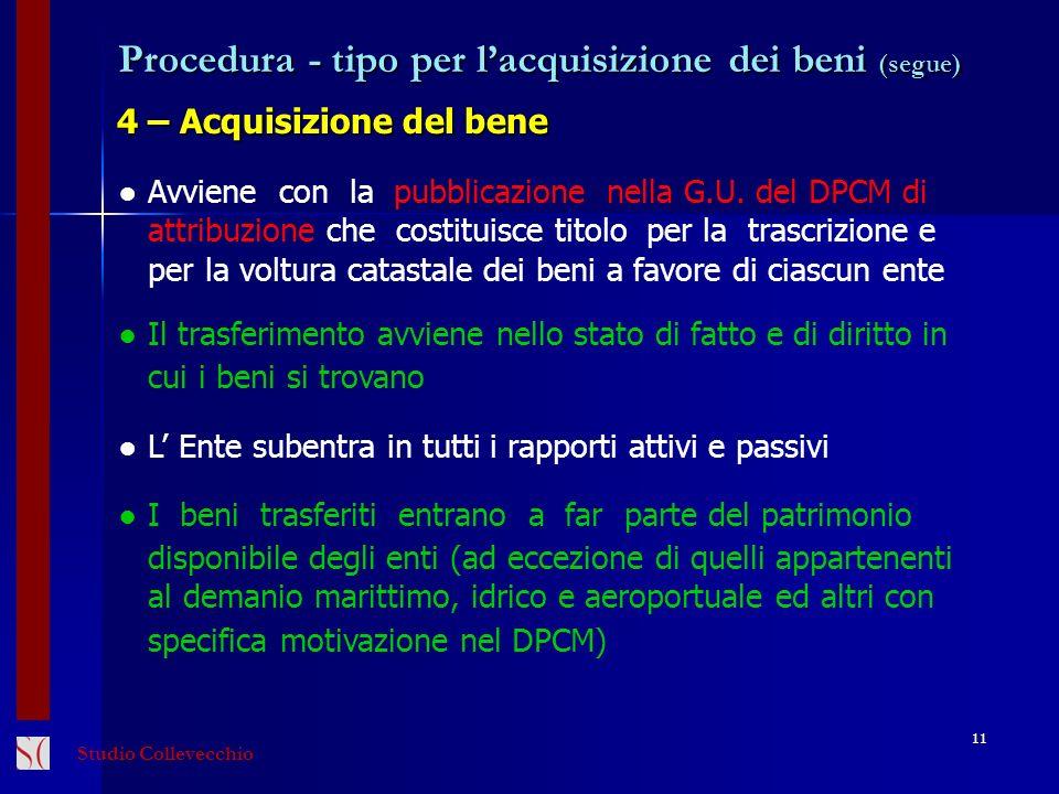 Procedura - tipo per lacquisizione dei beni (segue) 4 – Acquisizione del bene 11 Avviene con la pubblicazione nella G.U. del DPCM di attribuzione che
