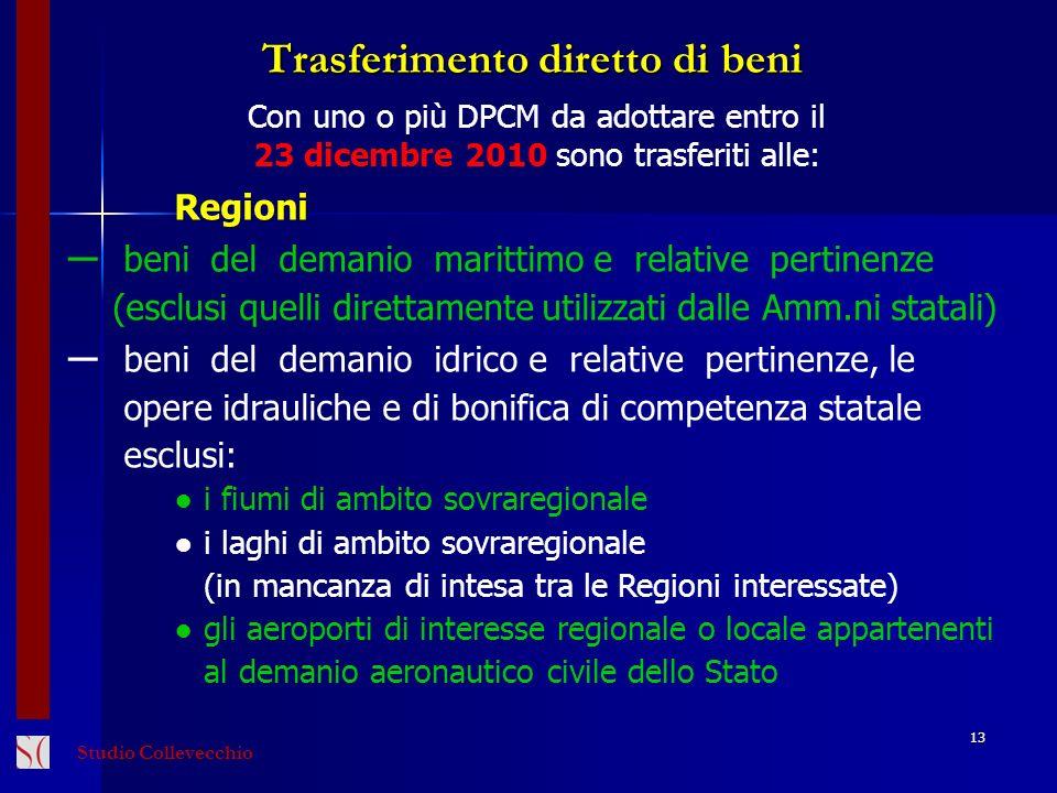 13 Con uno o più DPCM da adottare entro il 23 dicembre 2010 sono trasferiti alle:Regioni beni del demanio marittimo e relative pertinenze (esclusi que
