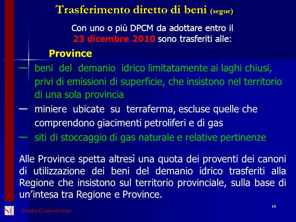 14 Con uno o più DPCM da adottare entro il 23 dicembre 2010 sono trasferiti alle:Province beni del demanio idrico limitatamente ai laghi chiusi, privi