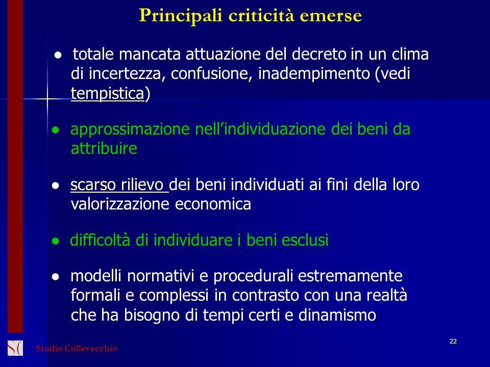 22 Principali criticità emerse totale mancata attuazione del decreto in un clima di incertezza, confusione, inadempimento (vedi di incertezza, confusi