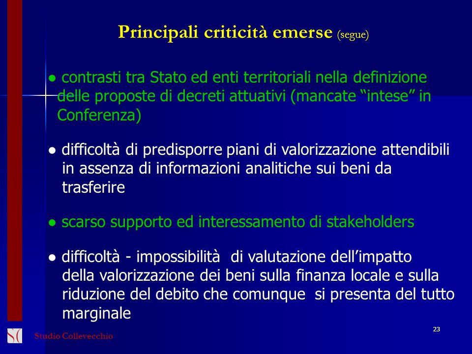 23 Principali criticità emerse (segue) contrasti tra Stato ed enti territoriali nella definizione delle proposte di decreti attuativi (mancate intese