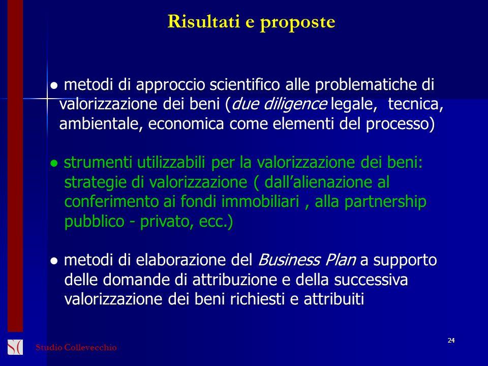 24 Risultati e proposte metodi di approccio scientifico alle problematiche di valorizzazione dei beni (due diligence legale, tecnica, valorizzazione d