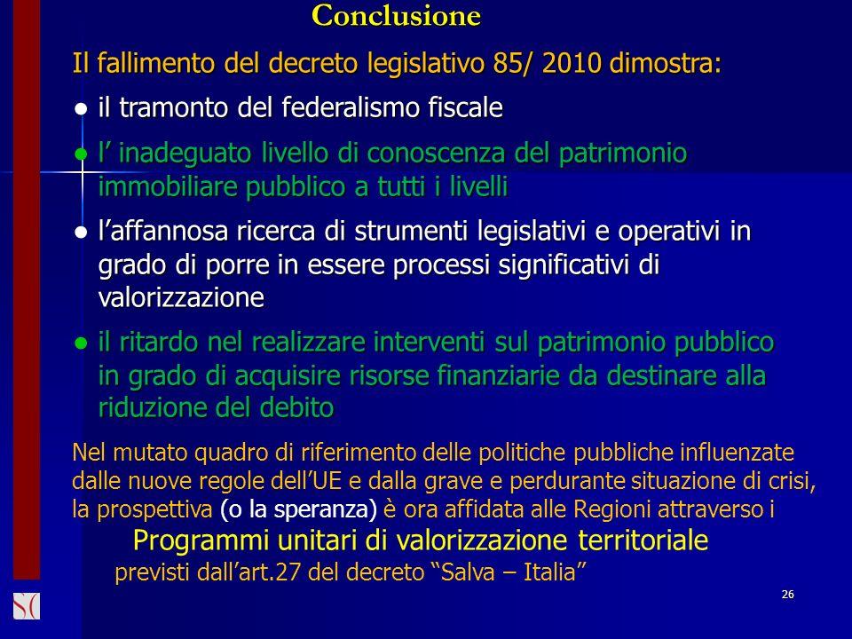 26 Il fallimento del decreto legislativo 85/ 2010 dimostra: il tramonto del federalismo fiscale il tramonto del federalismo fiscale l inadeguato livel