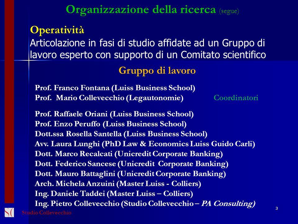 3 Organizzazione della ricerca (segue) Operatività Articolazione in fasi di studio affidate ad un Gruppo di lavoro esperto con supporto di un Comitato