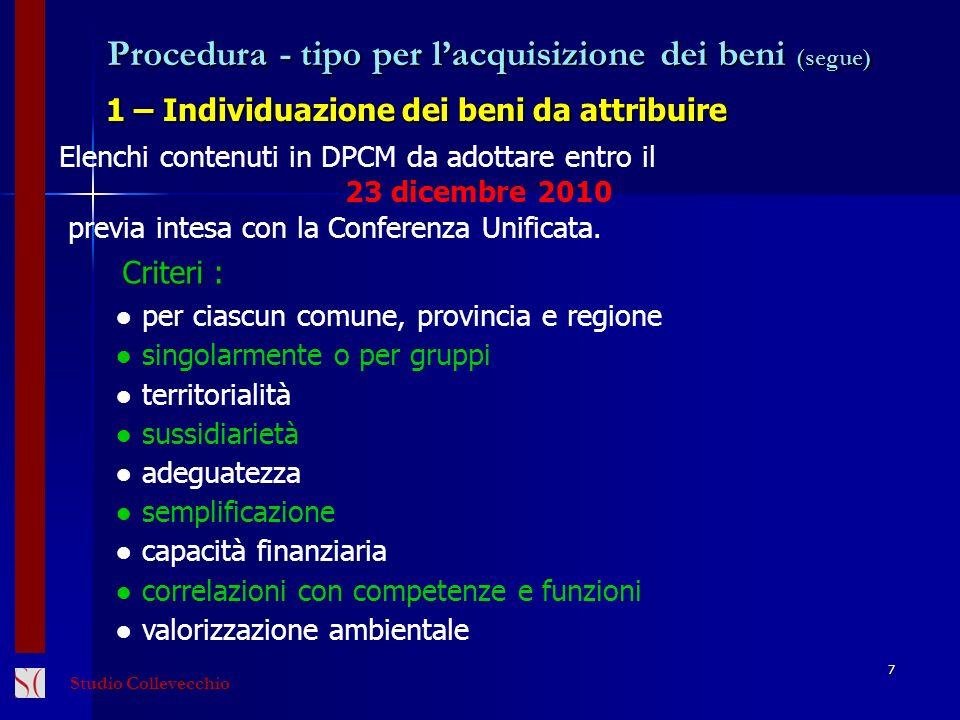 Procedura - tipo per lacquisizione dei beni (segue) 1 – Individuazione dei beni da attribuire 7 Elenchi contenuti in DPCM da adottare entro il 23 dice