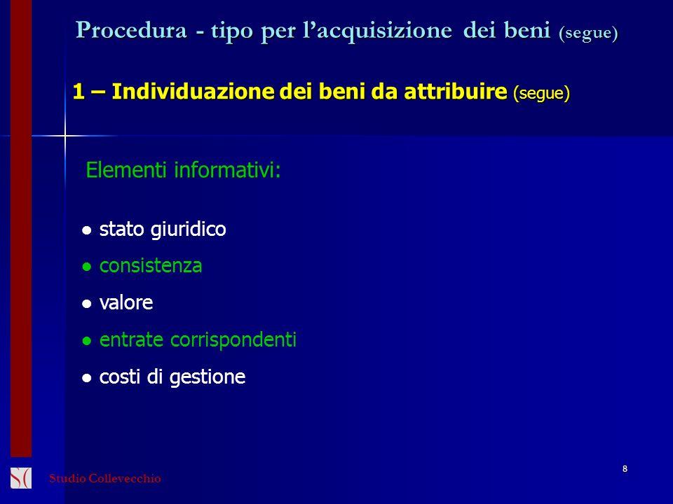 Procedura - tipo per lacquisizione dei beni (segue) 1 – Individuazione dei beni da attribuire (segue) 8 Elementi informativi: stato giuridico consiste