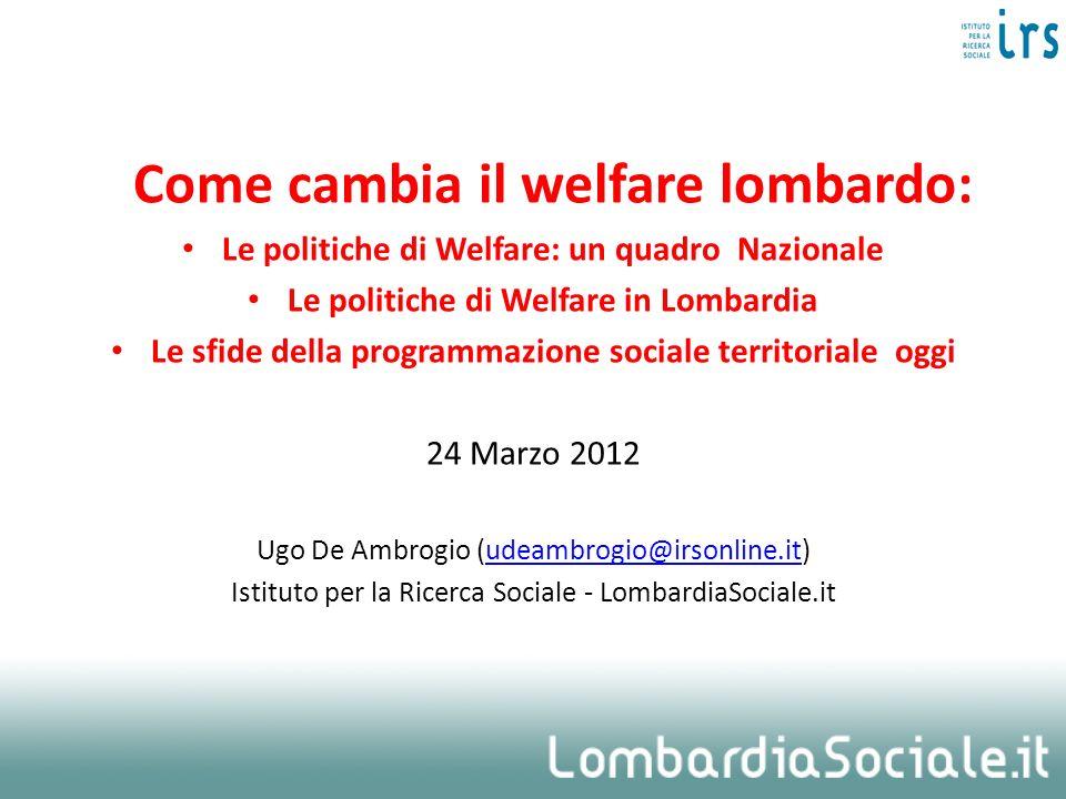 Come cambia il welfare lombardo: Le politiche di Welfare: un quadro Nazionale Le politiche di Welfare in Lombardia Le sfide della programmazione socia