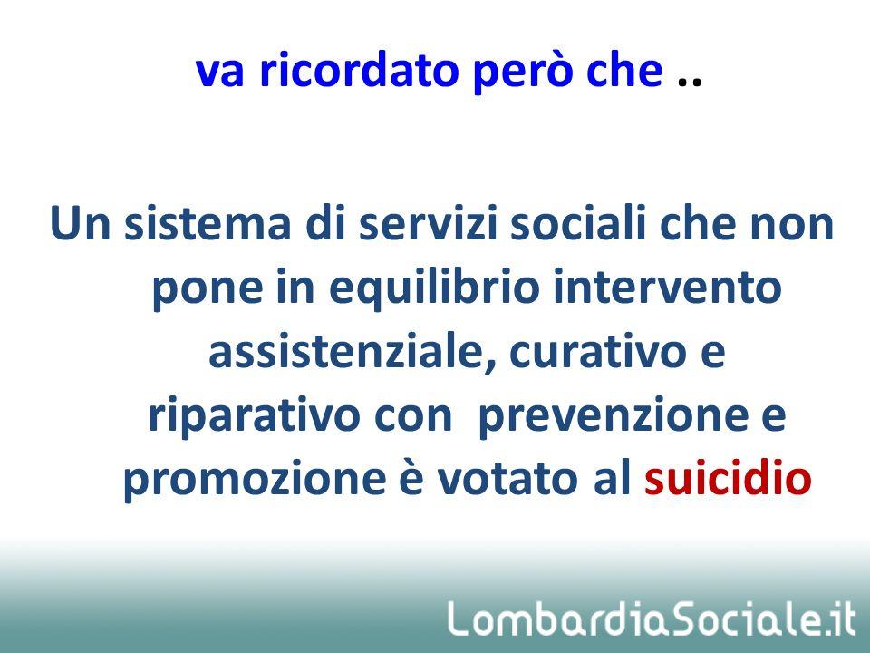 va ricordato però che.. Un sistema di servizi sociali che non pone in equilibrio intervento assistenziale, curativo e riparativo con prevenzione e pro