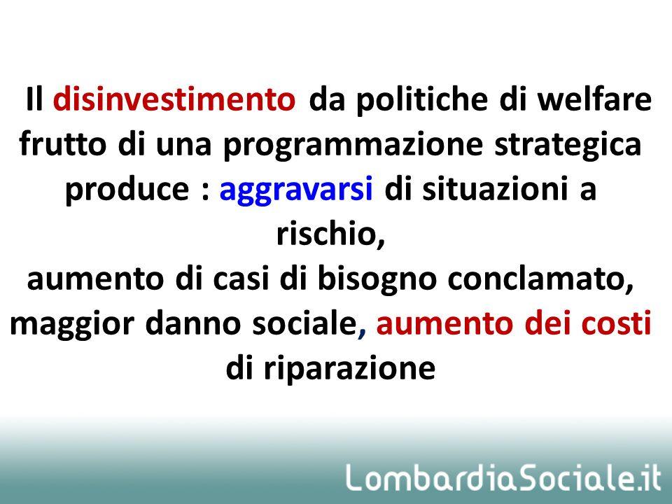 Il disinvestimento da politiche di welfare frutto di una programmazione strategica produce : aggravarsi di situazioni a rischio, aumento di casi di bi