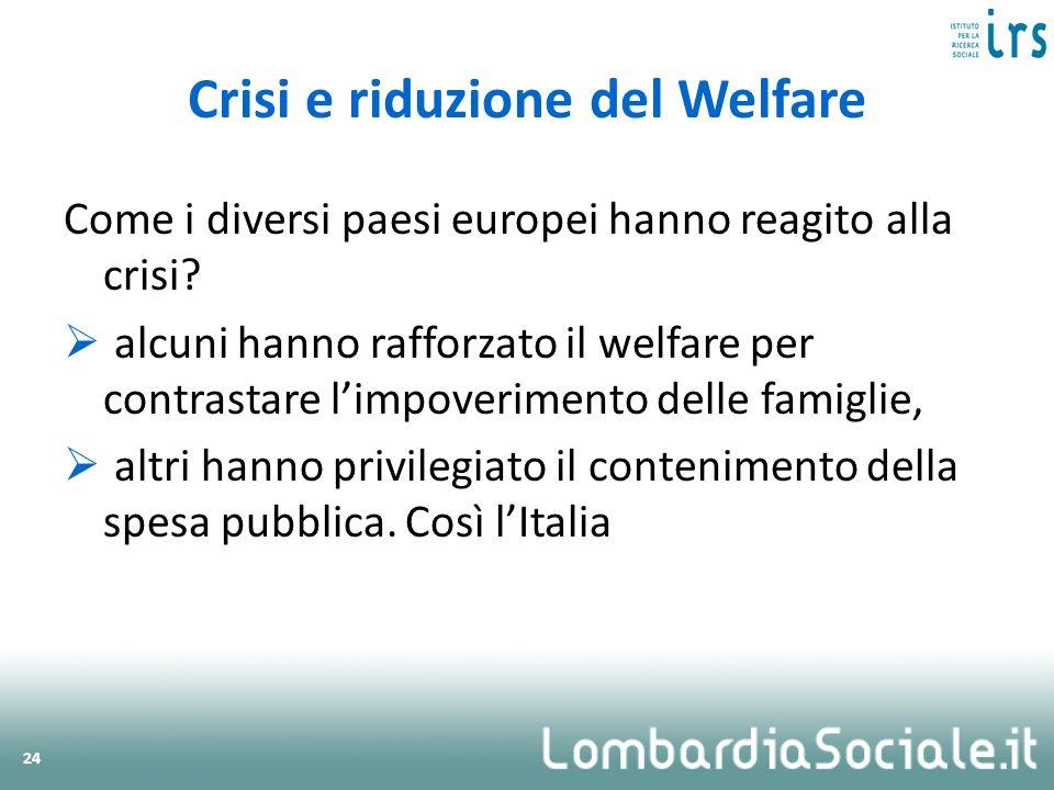 Come i diversi paesi europei hanno reagito alla crisi? alcuni hanno rafforzato il welfare per contrastare limpoverimento delle famiglie, altri hanno p