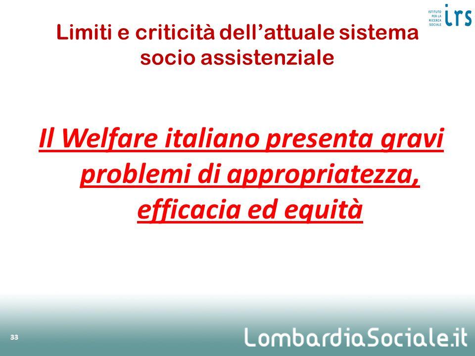 Limiti e criticità dellattuale sistema socio assistenziale Il Welfare italiano presenta gravi problemi di appropriatezza, efficacia ed equità 33