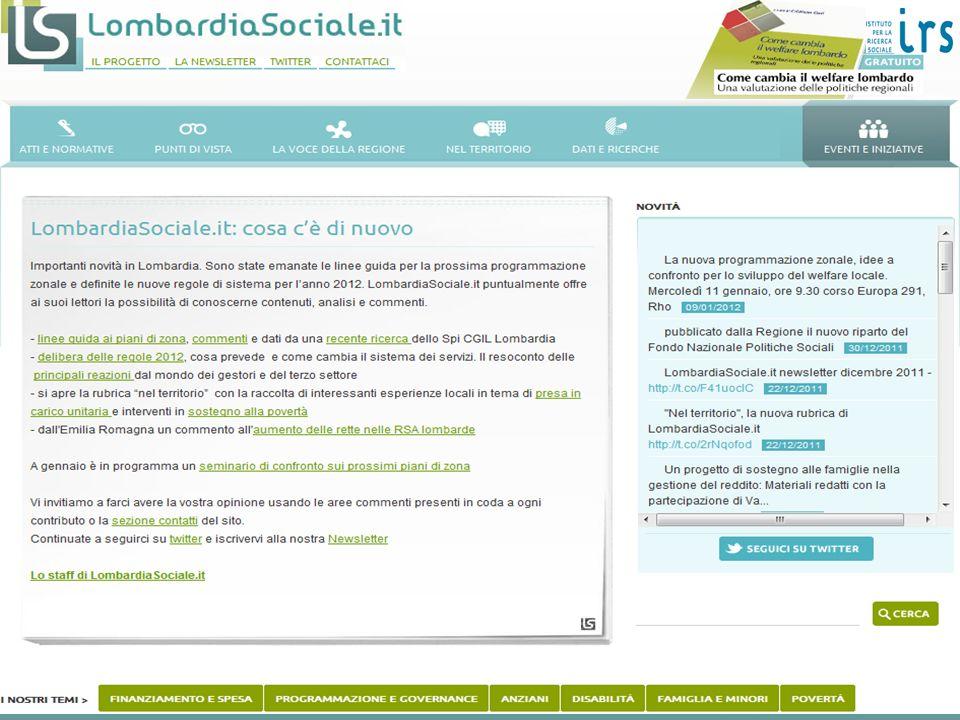 La spesa per la protezione sociale allargata nel 2010 Classificazione tipo Commissione Onofri milioniin %Pil 1.