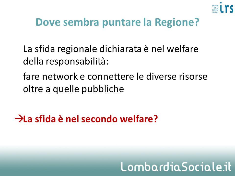 Dove sembra puntare la Regione? La sfida regionale dichiarata è nel welfare della responsabilità: fare network e connettere le diverse risorse oltre a