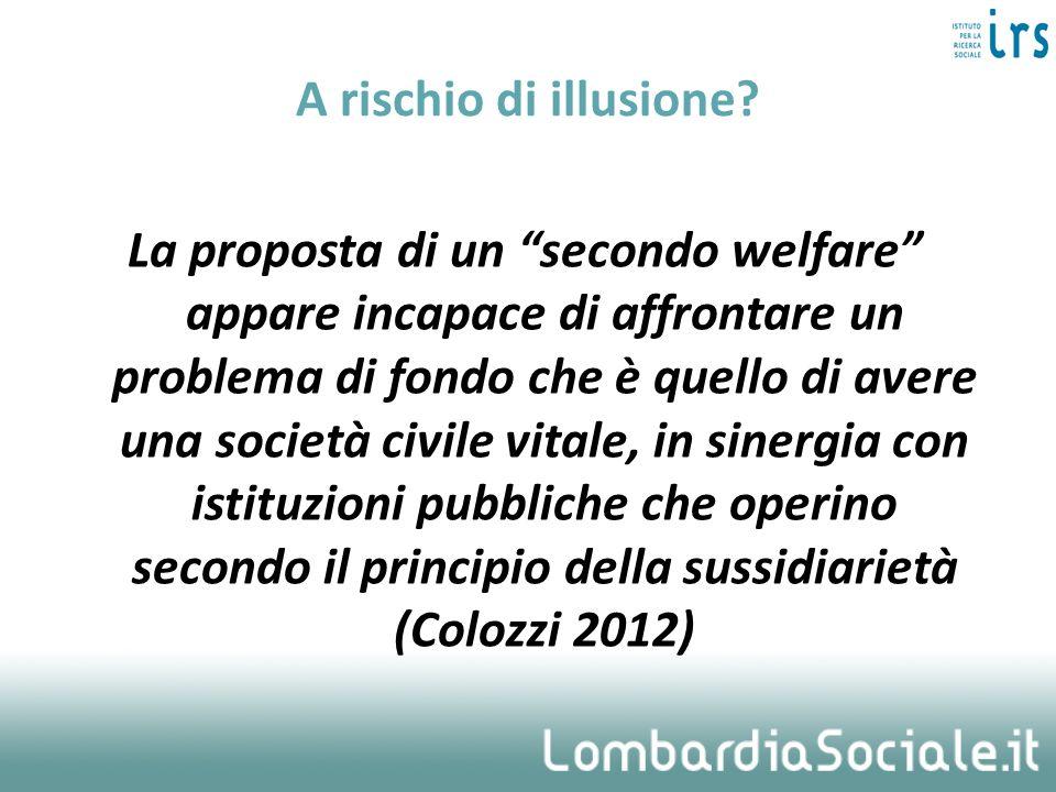 A rischio di illusione? La proposta di un secondo welfare appare incapace di affrontare un problema di fondo che è quello di avere una società civile