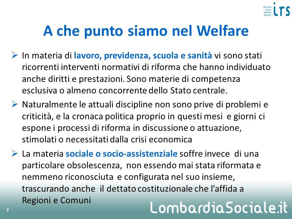 Due temi chiave del welfare lombardo in questo quadro nazionale a.Il finanziamento pubblico e il secondo welfare b.La spinta verso la libertà di scelta
