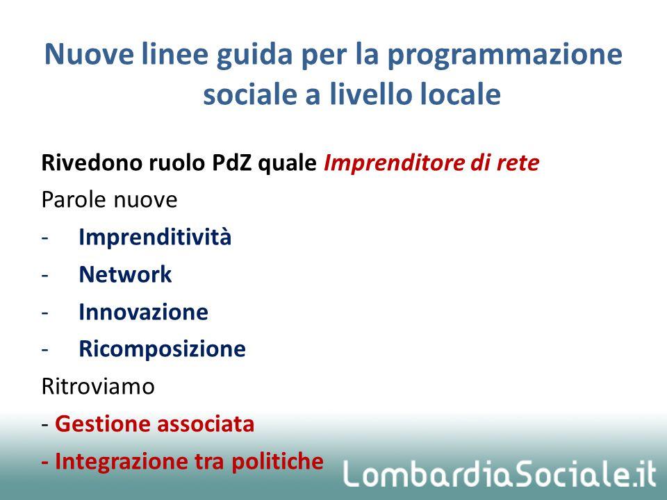 Nuove linee guida per la programmazione sociale a livello locale Rivedono ruolo PdZ quale Imprenditore di rete Parole nuove -Imprenditività -Network -