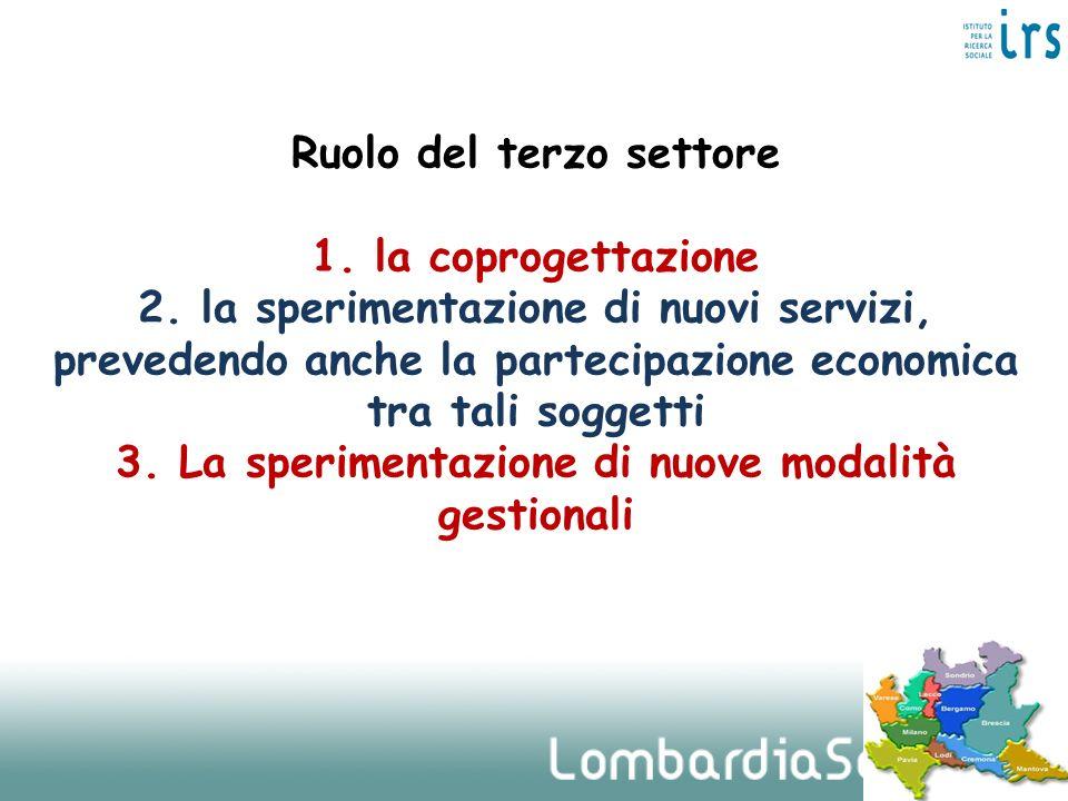 Ruolo del terzo settore 1. la coprogettazione 2. la sperimentazione di nuovi servizi, prevedendo anche la partecipazione economica tra tali soggetti 3