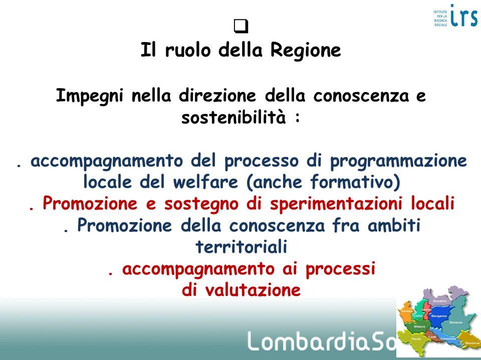 Il ruolo della Regione Impegni nella direzione della conoscenza e sostenibilità :. accompagnamento del processo di programmazione locale del welfare (