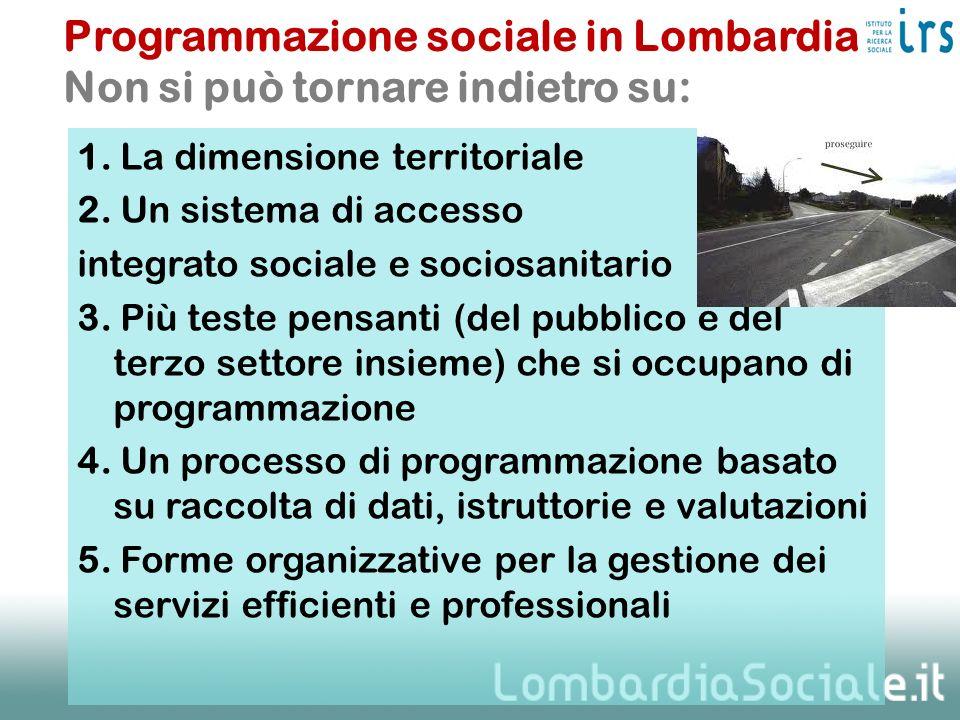 1. La dimensione territoriale 2. Un sistema di accesso integrato sociale e sociosanitario 3. Più teste pensanti (del pubblico e del terzo settore insi