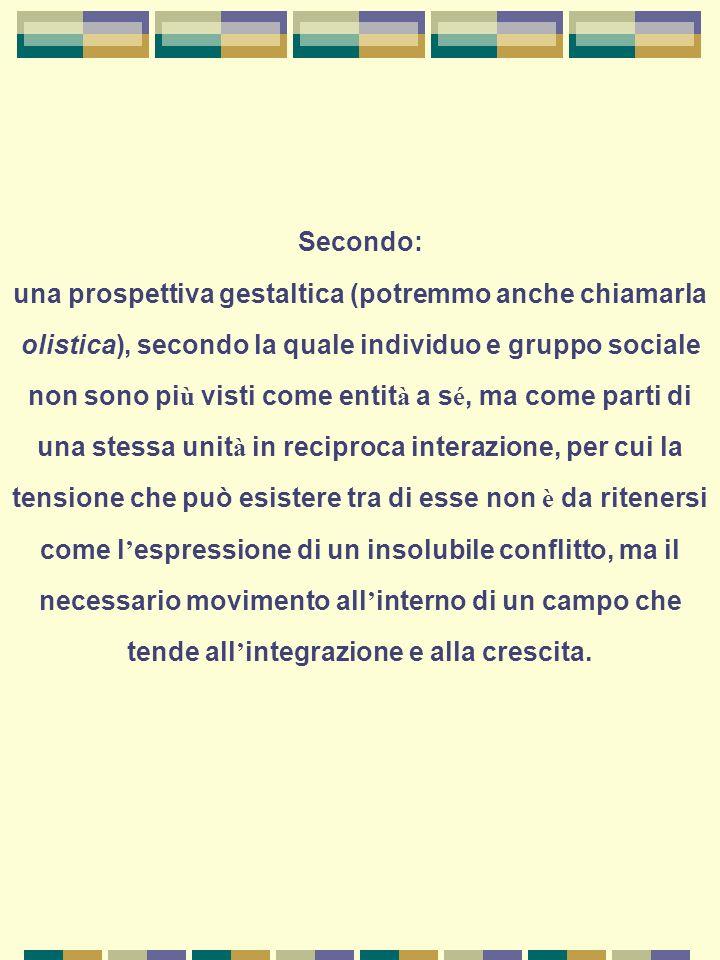 Terzo: la prospettiva relazionale come chiave di lettura del comportamento umano, per cui ogni esperienza trova il suo significato – anche in termini di intenzionalit à – nella relazione in cui è inserita.