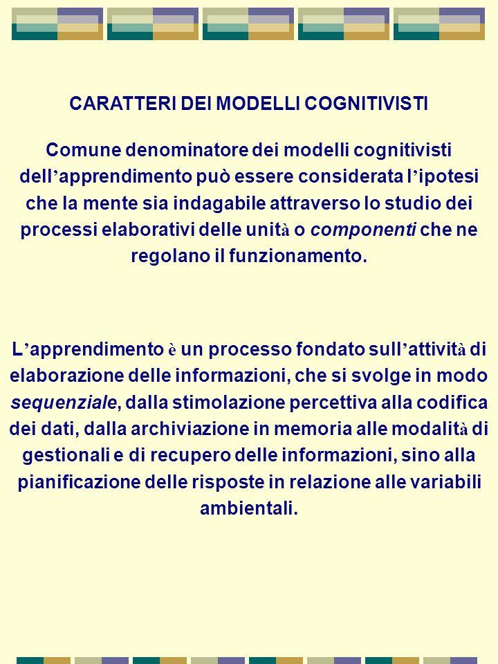 I processi cognitivi si compongono di sequenze euristiche di procedure elaborative, dotate di scopi programmati, orientate verso fini prestabiliti e monitorate da regole predefinite, la cui acquisizione è preliminare alla fase operativa.