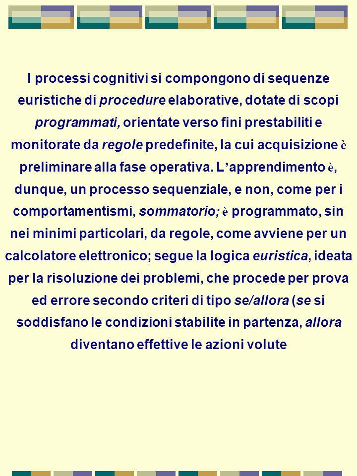 L apprendimento è un processo elaborativo di informazioni, gestite da un sistema a capacit à limitata, che le processa sequenzialmente attraverso una serie di funzioni cognitive, che vanno dalla codifica alla memorizzazione.