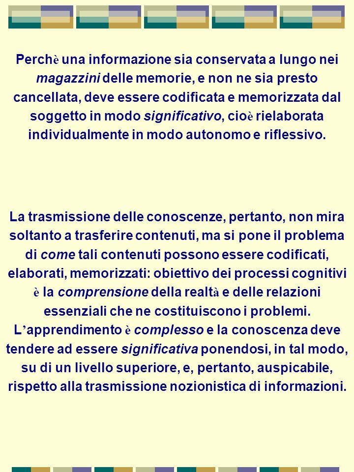 comprensione L apprendimento si basa su meccanismi di comprensione e non di ritenzione mnemonica, in modo che le conoscenze siano pi ù durature nella memoria e facilmente disponibili al richiamo.