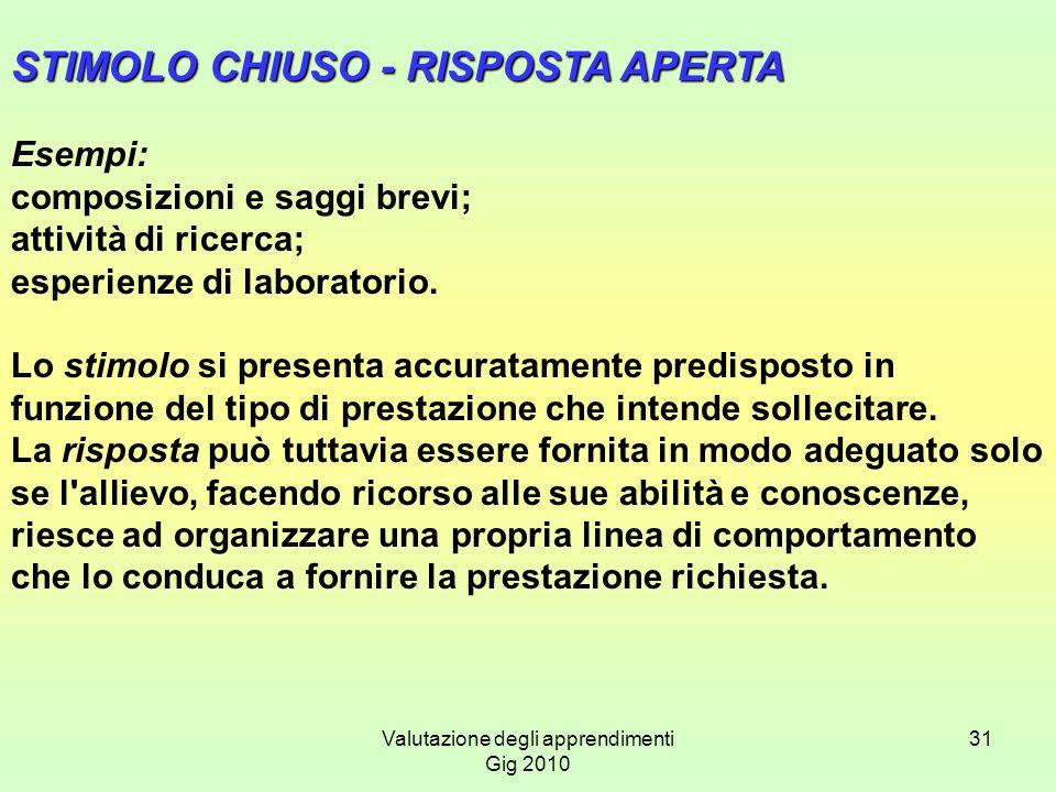 Valutazione degli apprendimenti Gig 2010 31 STIMOLO CHIUSO - RISPOSTA APERTA Esempi: composizioni e saggi brevi; attività di ricerca; esperienze di la