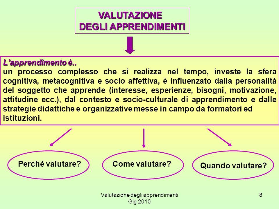Valutazione degli apprendimenti Gig 2010 8 VALUTAZIONE DEGLI APPRENDIMENTI L'apprendimento è.. un processo complesso che si realizza nel tempo, invest