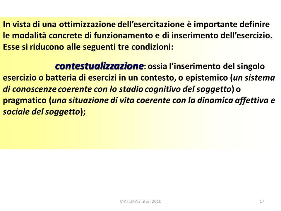 MATEMA Sintesi 201017 In vista di una ottimizzazione dellesercitazione è importante definire le modalità concrete di funzionamento e di inserimento de