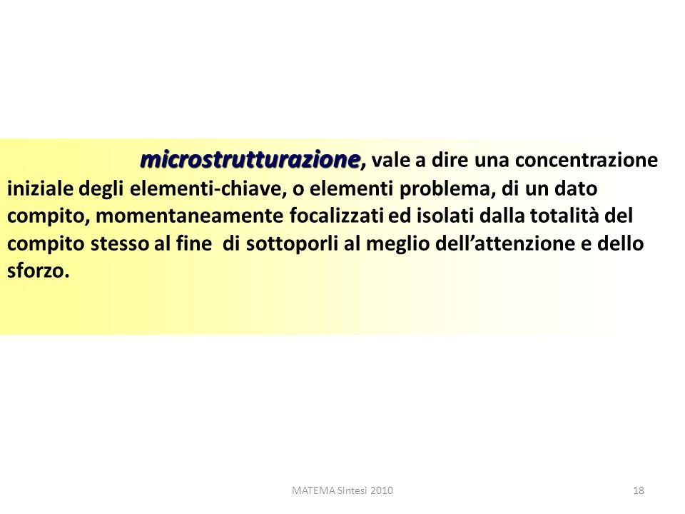 MATEMA Sintesi 201018 microstrutturazione microstrutturazione, vale a dire una concentrazione iniziale degli elementi-chiave, o elementi problema, di