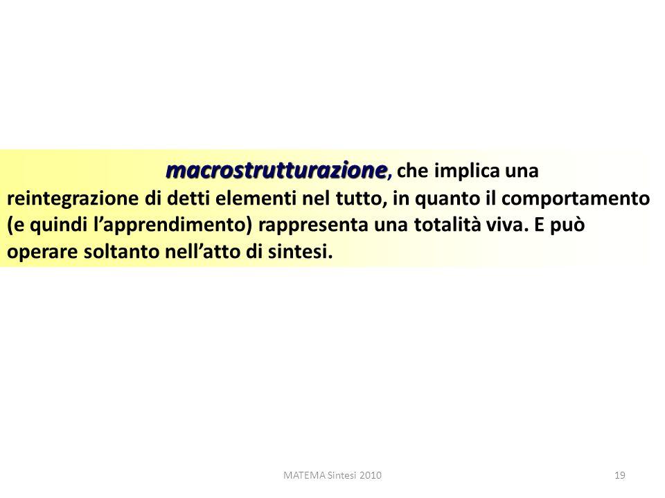 MATEMA Sintesi 201019 macrostrutturazione macrostrutturazione, che implica una reintegrazione di detti elementi nel tutto, in quanto il comportamento