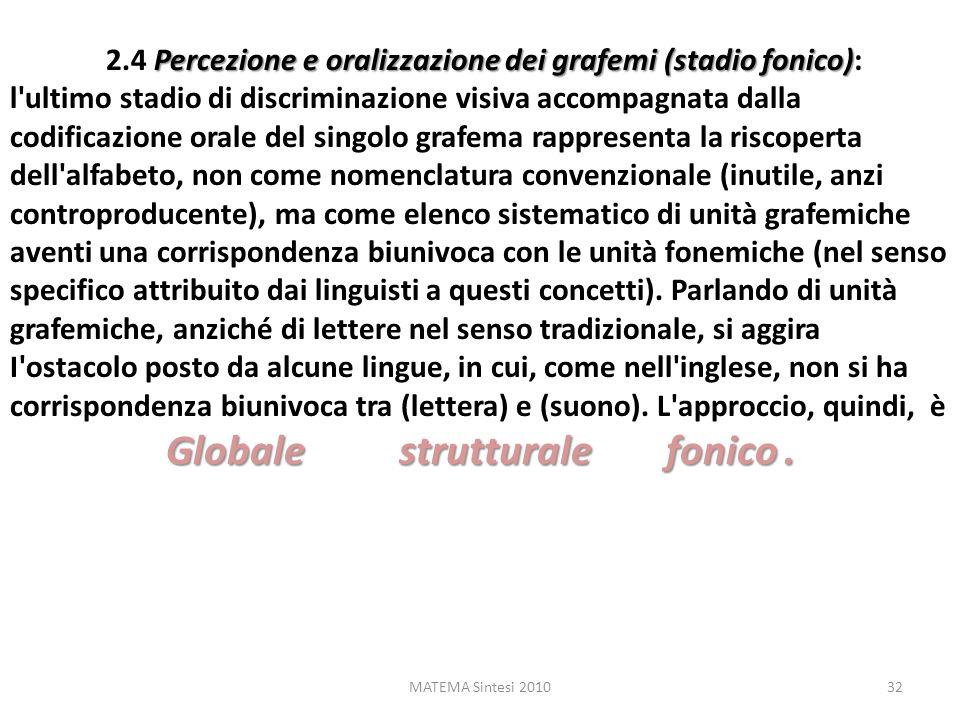 MATEMA Sintesi 201032 Percezione e oralizzazione dei grafemi (stadio fonico) 2.4 Percezione e oralizzazione dei grafemi (stadio fonico): l'ultimo stad