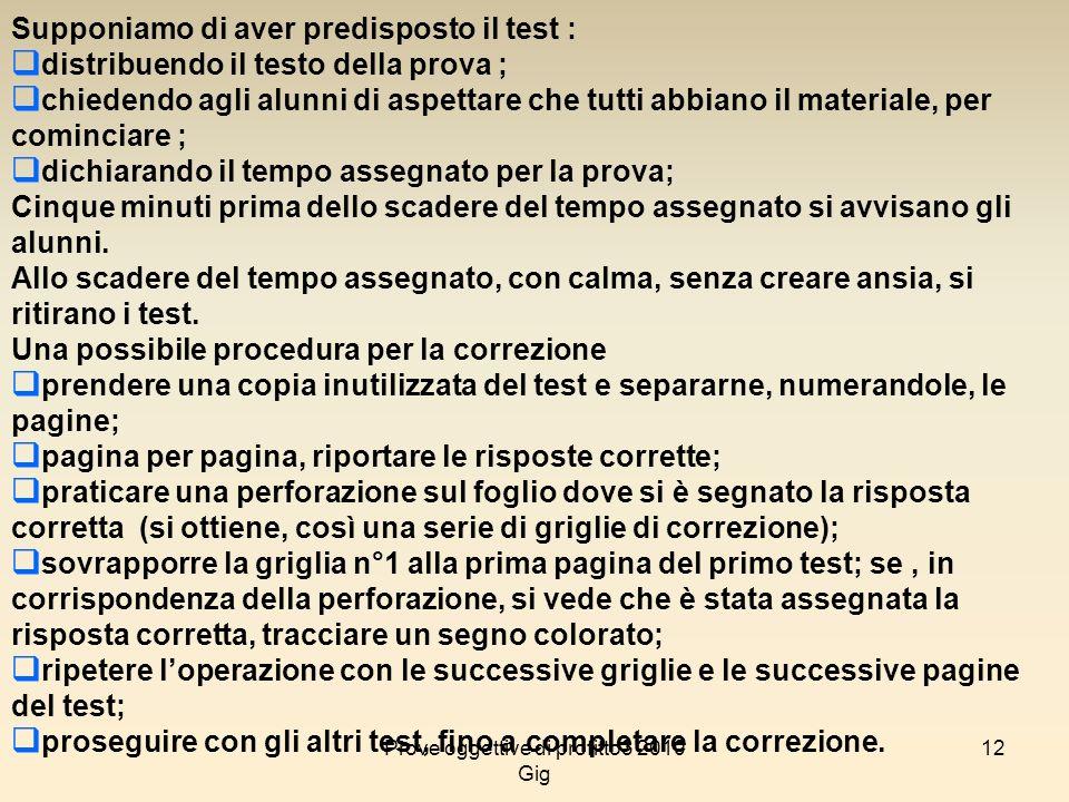 12 Supponiamo di aver predisposto il test : distribuendo il testo della prova ; chiedendo agli alunni di aspettare che tutti abbiano il materiale, per