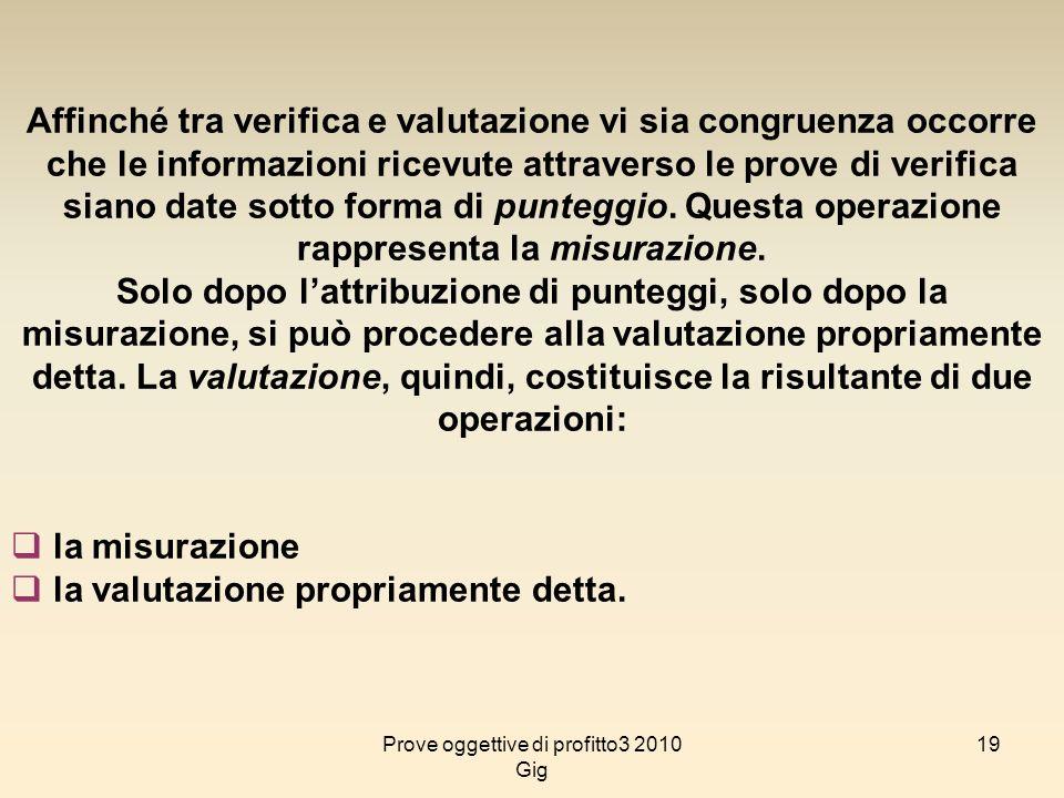 19 Affinché tra verifica e valutazione vi sia congruenza occorre che le informazioni ricevute attraverso le prove di verifica siano date sotto forma d