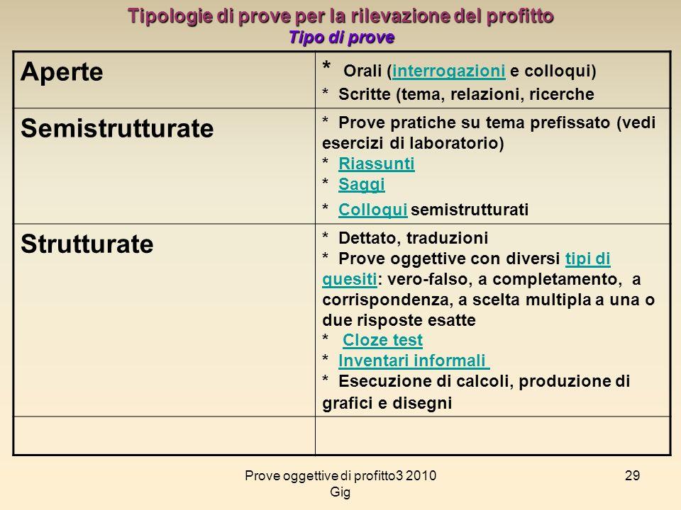 29 Tipologie di prove per la rilevazione del profitto Tipo di prove Aperte * Orali (interrogazioni e colloqui) * Scritte (tema, relazioni, ricercheint