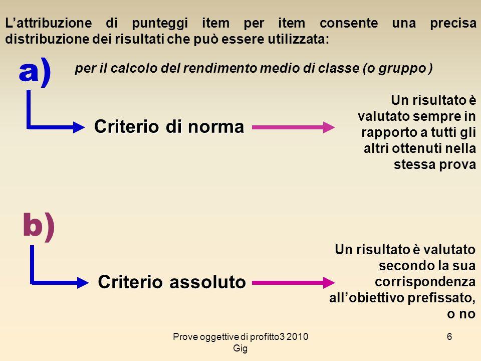 6 Lattribuzione di punteggi item per item consente una precisa distribuzione dei risultati che può essere utilizzata: a) per il calcolo del rendimento