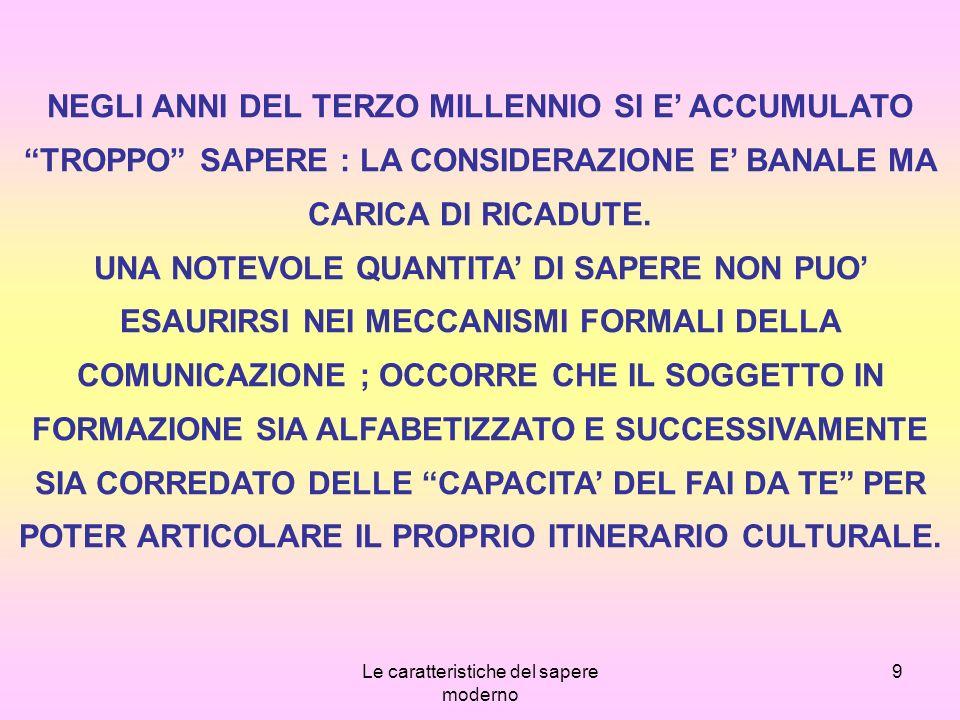 Le caratteristiche del sapere moderno 20 UNA SECONDA CONSEGUENZA E LA PERDITA DI VALORE DEGLI ARCHETIPI LOGICO-VERBALI.