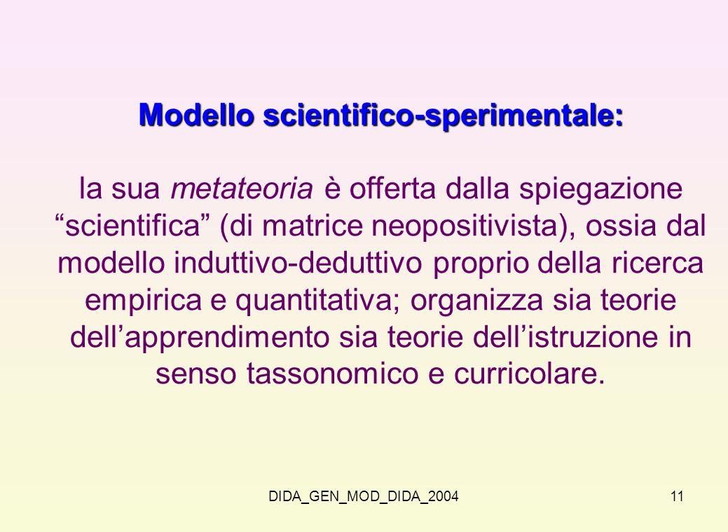 DIDA_GEN_MOD_DIDA_200411 Modello scientifico-sperimentale: la sua metateoria è offerta dalla spiegazione scientifica (di matrice neopositivista), ossi