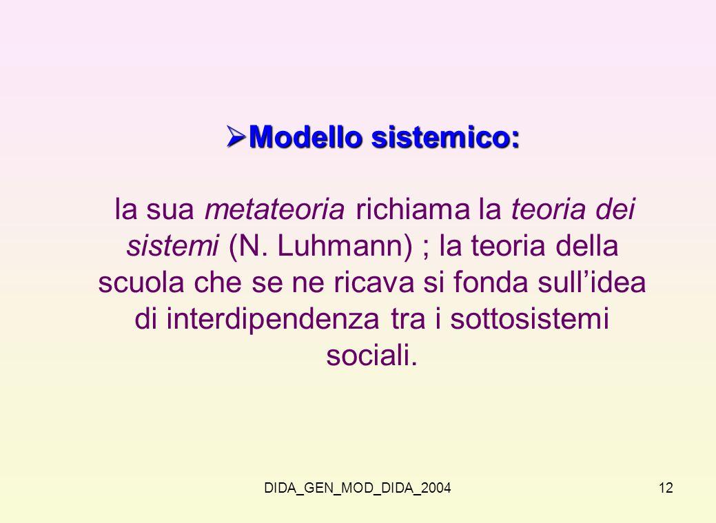 DIDA_GEN_MOD_DIDA_200412 Modello sistemico: Modello sistemico: la sua metateoria richiama la teoria dei sistemi (N. Luhmann) ; la teoria della scuola