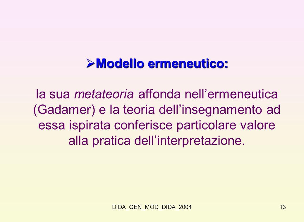 DIDA_GEN_MOD_DIDA_200413 Modello ermeneutico: Modello ermeneutico: la sua metateoria affonda nellermeneutica (Gadamer) e la teoria dellinsegnamento ad