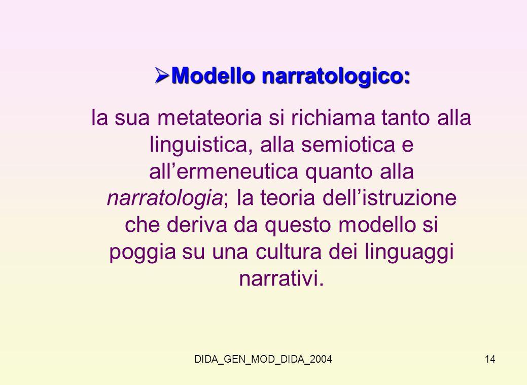DIDA_GEN_MOD_DIDA_200414 Modello narratologico: Modello narratologico: la sua metateoria si richiama tanto alla linguistica, alla semiotica e allermen