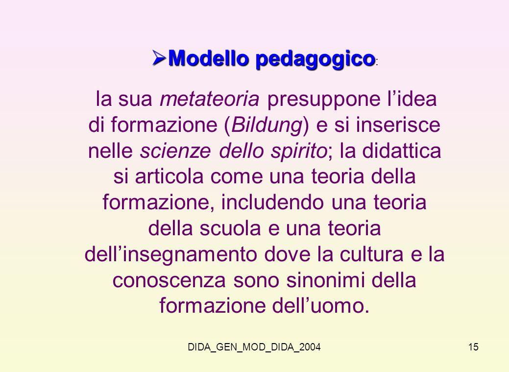 DIDA_GEN_MOD_DIDA_200415 Modello pedagogico Modello pedagogico : la sua metateoria presuppone lidea di formazione (Bildung) e si inserisce nelle scien