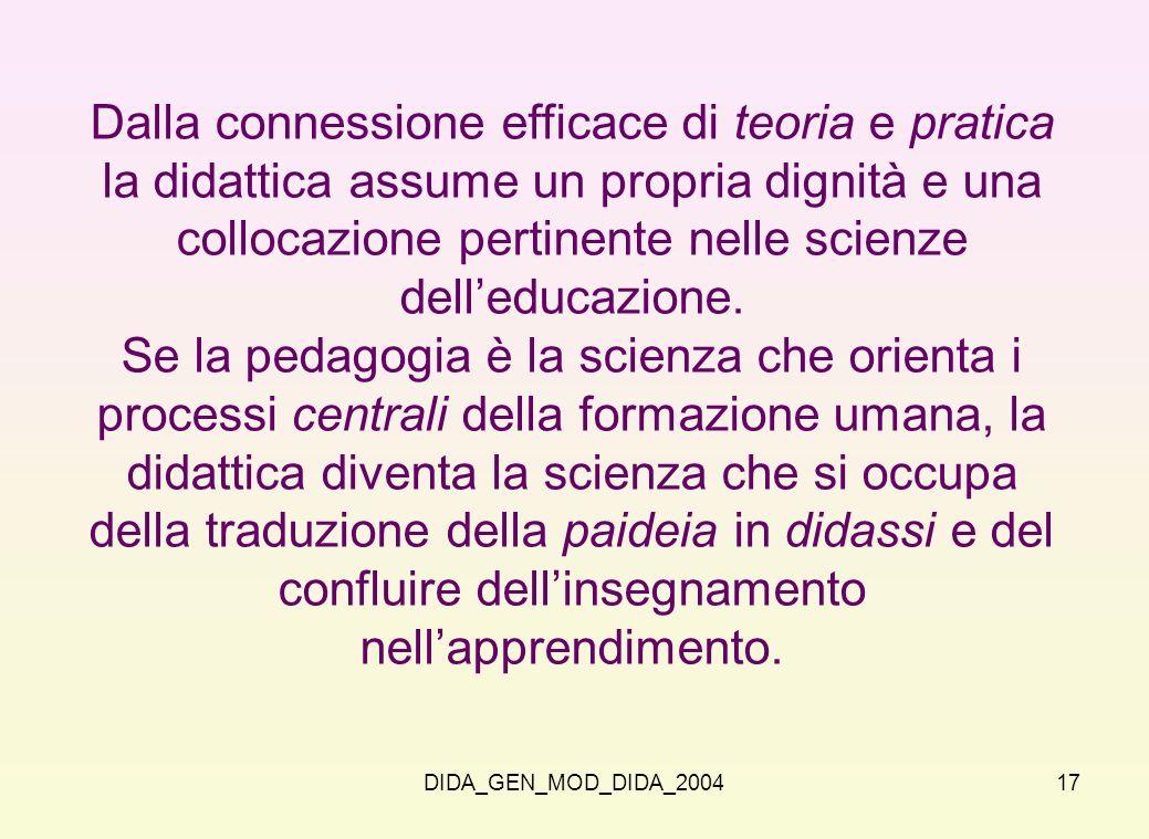 DIDA_GEN_MOD_DIDA_200417 Dalla connessione efficace di teoria e pratica la didattica assume un propria dignità e una collocazione pertinente nelle sci