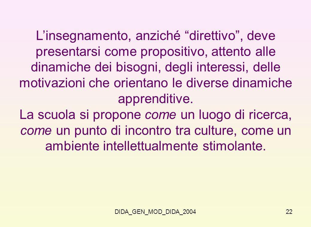 DIDA_GEN_MOD_DIDA_200422 Linsegnamento, anziché direttivo, deve presentarsi come propositivo, attento alle dinamiche dei bisogni, degli interessi, del