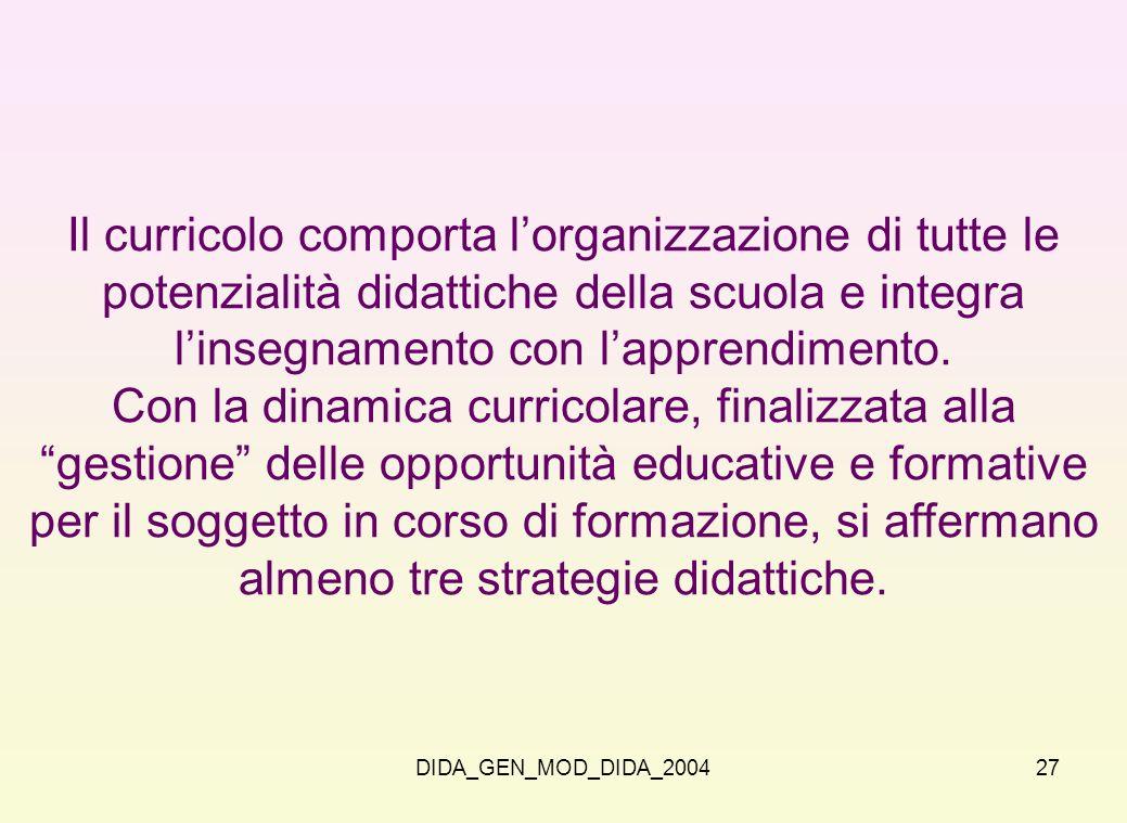 DIDA_GEN_MOD_DIDA_200427 Il curricolo comporta lorganizzazione di tutte le potenzialità didattiche della scuola e integra linsegnamento con lapprendim