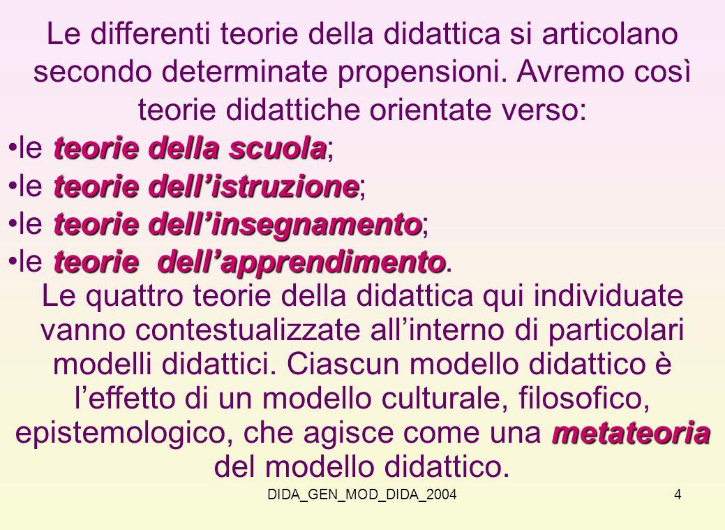 DIDA_GEN_MOD_DIDA_20044 Le differenti teorie della didattica si articolano secondo determinate propensioni. Avremo così teorie didattiche orientate ve