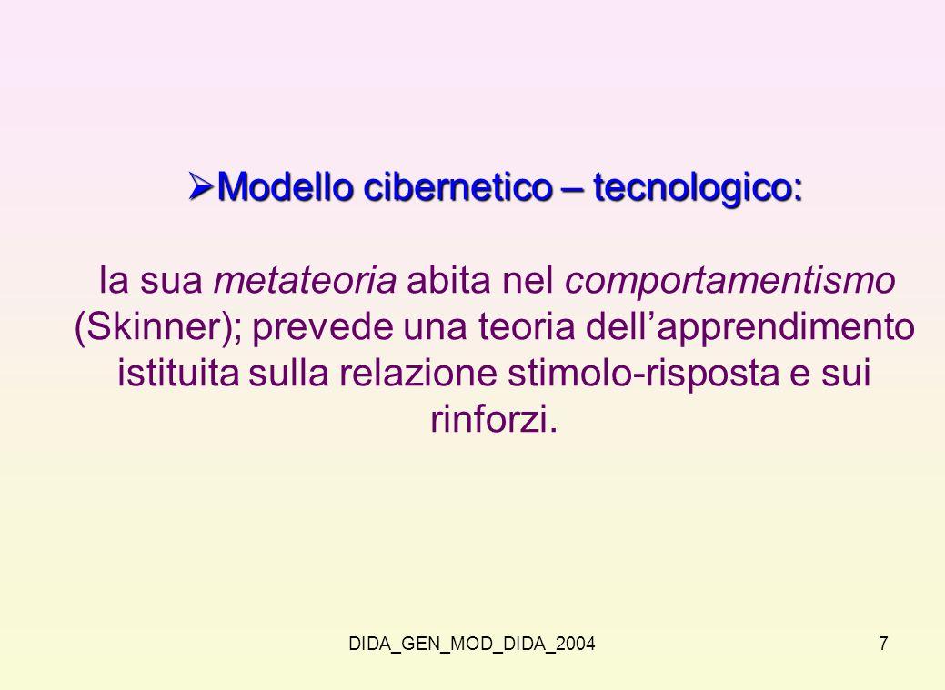 DIDA_GEN_MOD_DIDA_20047 Modello cibernetico – tecnologico: Modello cibernetico – tecnologico: la sua metateoria abita nel comportamentismo (Skinner);