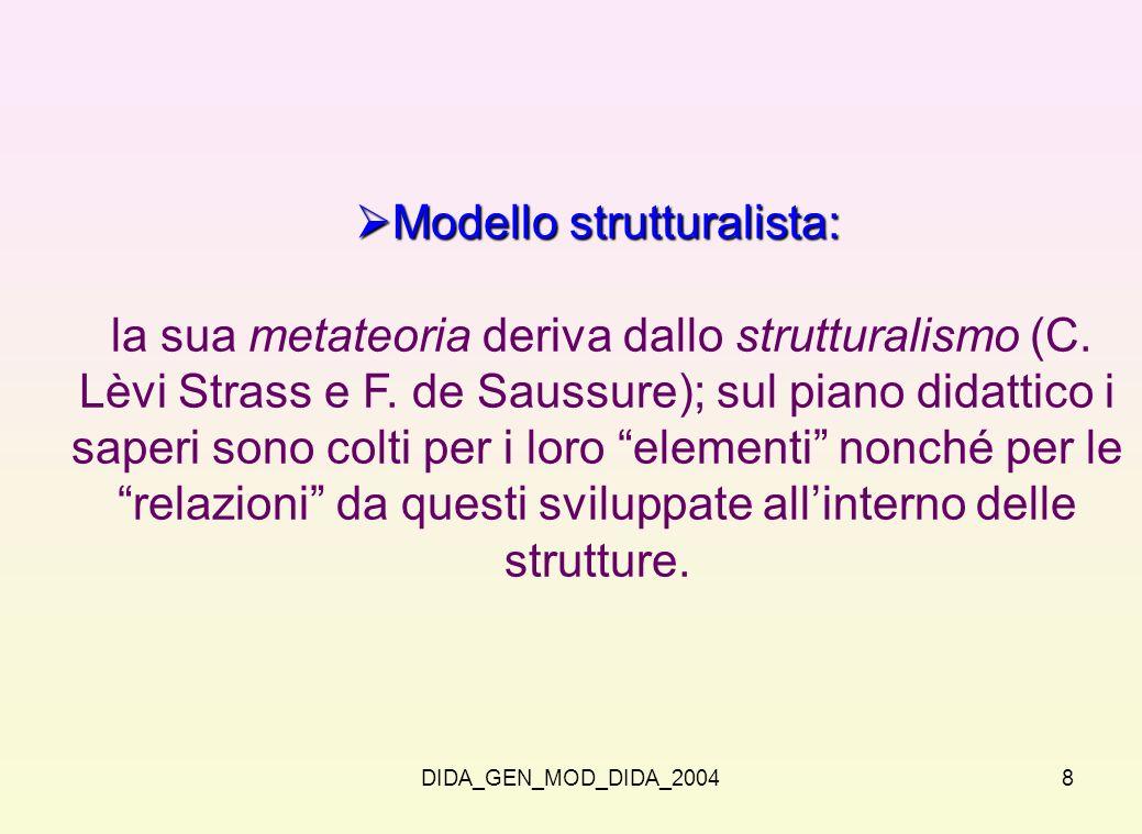 DIDA_GEN_MOD_DIDA_20048 Modello strutturalista: Modello strutturalista: la sua metateoria deriva dallo strutturalismo (C. Lèvi Strass e F. de Saussure
