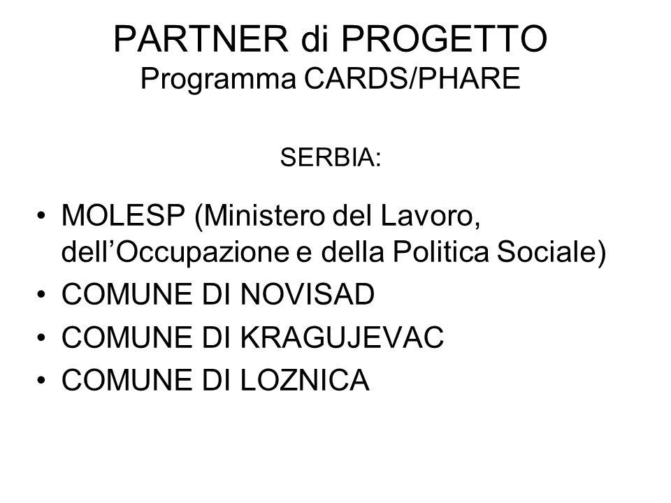 PARTNER di PROGETTO Programma CARDS/PHARE SERBIA: MOLESP (Ministero del Lavoro, dellOccupazione e della Politica Sociale) COMUNE DI NOVISAD COMUNE DI KRAGUJEVAC COMUNE DI LOZNICA